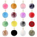 16 Pieces Pom Poms Keychains Fluffy Faux Rabbit Fur Puff Balls Keychains fur ball keychain with Elastic Loop for Hats Keychains Scarves Gloves