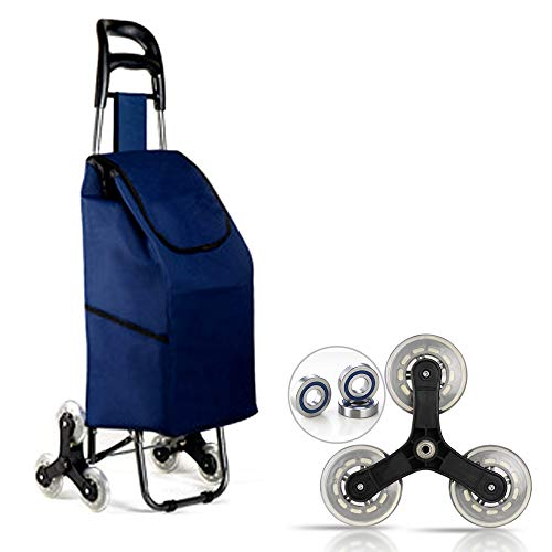 Folding Shopping Trolley Bag, Foldable Trolley Cart, 3 Wheels Stair Climbing Cart, Foldable, Large Capacity, Easy to Climb Stairs, for Shopping, Picnic, Home Storage, Etc.(All Blue )