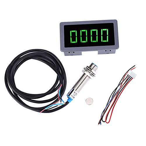 Tacómetro de motor, DC 8-24V 4 dígitos LED Tacómetro de motor Medidor de velocidad de RPM + Sensor de interruptor de proximidad NPN con lecturas de RPM Verde para varias aplicaciones(Speedometer)