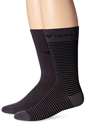 NEU EMPORIO ARMANI HERREN SOCKEN 2 Pack mens socks one size Baumwolle Elasthan 00044 2Pack Anthrazit