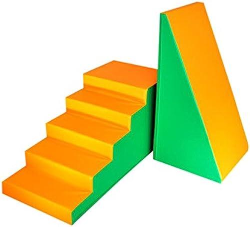 2 Stück XXL Softbausteine   Riesenbausteine Leiter und Rutsche - Grün Orange