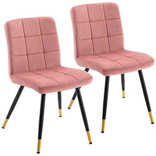 Duhome Esszimmerstuhl aus Stoff Samt Rosa Pink Farbauswahl Stuhl Retro Design Polsterstuhl mit Rückenlehne Metallbeine mit Goldfärbung am...