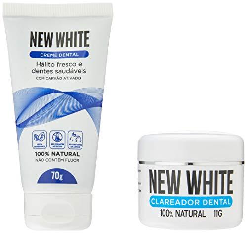 New White Clareador Dental 100% Natural 11g + Creme Dental