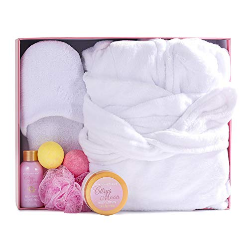Spa Bathrobe and Slippers - Spa Luxetique Spa Gifts for Women, Flannel and Soft Bath Robe, Bath and Body Gift Set, Home Spa Gift Set Includes Bathrobe...