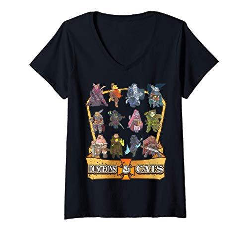 Mujer Dungeons and Cats Nerdy Kitten Cat Dice Nerd RPG Game Gamer Camiseta Cuello V