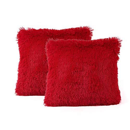 FeiliandaJJ 2er Set Dekorativ Kissenbezug 40x40cm,Einfarbig Plüsch Weich Kopfkissenbezug Kissenhülle,Sofakissenbezüge Pillowcase 16x16 für Couch Wohnzimmer Sofa Bed Auto (Rot)