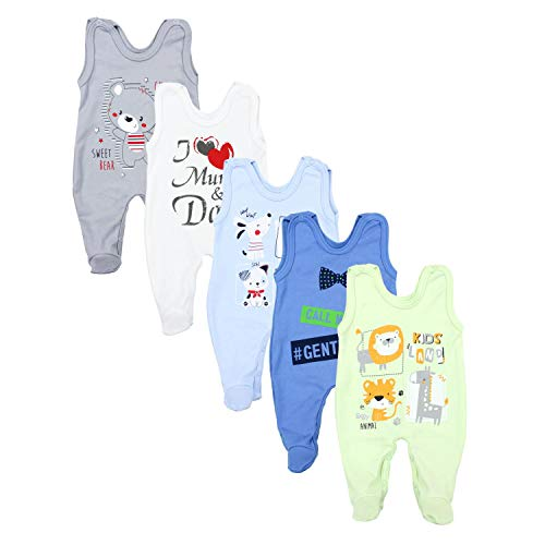 TupTam Baby Unisex Strampler mit Aufdruck Spruch 5er Pack, Farbe: Junge 3, Größe: 56