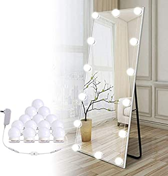 Hollywood Led Vanity Lights Strip Kit with 14 Dimmable Light Bulbs for Full Body Length Mirror and Bathroom Wall Mirror Plug in Mirror Lights with Power Supply White  No Mirror Included
