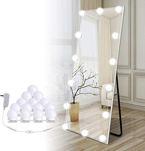 Hollywood Led Vanity Lights Strip Kit, with 14 Dimmable Light Bulbs for Full Body Length Mirror and Bathroom Wall Mirror, Plug in...