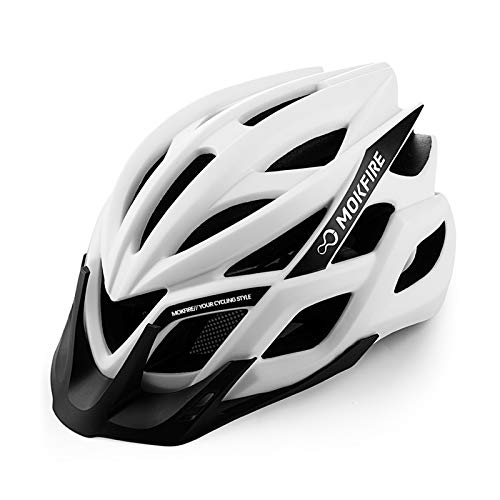 MOKFIRE Adult Bike Helmet CPSC Certified with Rechargeable USB Light, Bicycle Helmet for Men Women Road Cycling & Mountain Biking with Detachable Visor/Replacement Lining,22.44-24.41 Inches