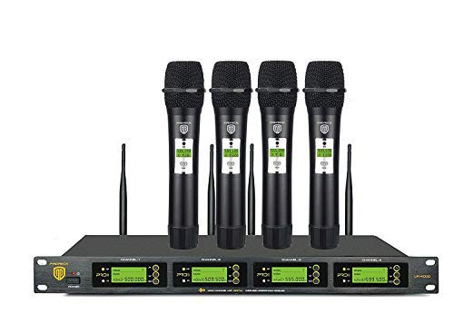 PRORECK UK-4000 UHF 4 Channel Wireless Microphone System with Four Handheld Microphone with FCC Certification, Perfect for Party/Wedding/Church/Conference/Speech, 400 Selectable Frequencies