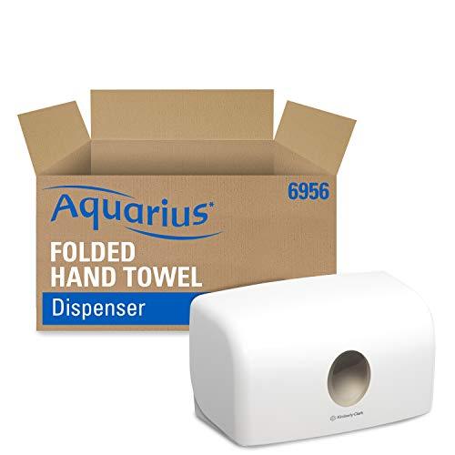 Aquarius Papierhandtuchspender für Falthandtücher, Wandmontierter Handtuchspender, Hygienische Einzelblattentnahme, Weiß, 6956