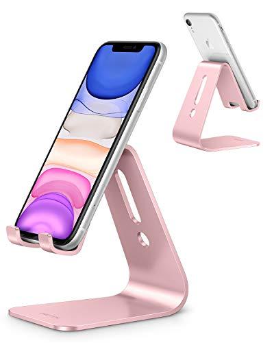 OMOTON Supporto Telefono, Porta Cellulare, Stand Universale Scrivania per Video, Dock Alluminio per iPhone 12 Mini/PRO Max/SE/11 PRO/XR/8 Plus, Samsung, Xiaomi, Altri Smartphone(3,5-10,5'), Oro Rosa