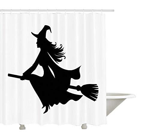 Yeuss-Hexen-Duschvorhang, Märchen-Fantasie-Frau auf Besen in der schwarzen Schattenbild-Karnevals-Festival-Feier, Gewebe-Badezimmer-Dekor-Satz mit den Haken, Schwarz-Weiß