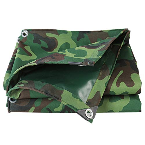 LXLA Heavy Duty Waterproof Tarp Camo/Green, Large Outdoor Dustproof Rainproof Cover with Grommets & Reinforcement Edge, Rectangle Awning (Size : 6m × 8m)