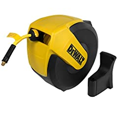"""The DeWalt 3/8"""" x 50' retractable air hose reel features an automatic spring-powered drive that makes hose retraction quick, automatic, and easy. The Dewalt 3/8"""" x 50' enclosed air hose reel is equipped with the 'stop-anywhere' locking mechanism that..."""