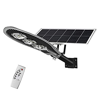 LOVUS LED Solar Street Lights 150W with Remote and Light Control, IP65 Waterproof 15000LM Commercial Solar Area Lighting Outdoor Super Bright Stable Performance, ST150-007