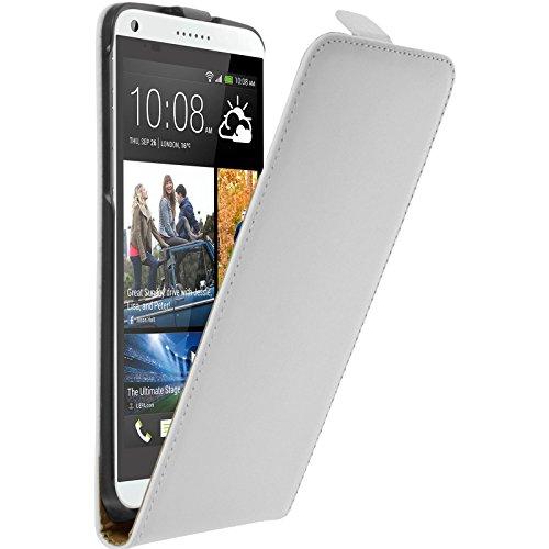 PhoneNatic Kunst-Lederhülle kompatibel mit HTC Desire 816 - Flip-Hülle weiß + 2 Schutzfolien