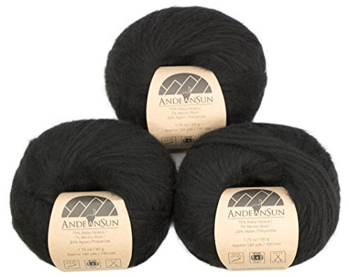 (Set of 3) Extra Soft Baby Alpaca Merino Wool Yarn Worsted #4 (150 Grams Total) - Luxuriously and Caring Soft - Alpaca Says Care Like no Other Yarn! (Black)