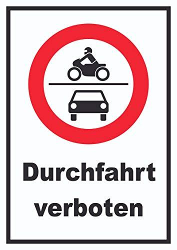 HB-Druck Durchfahrt verboten Krad und PKW Symbol Schild A3 (297x420mm)