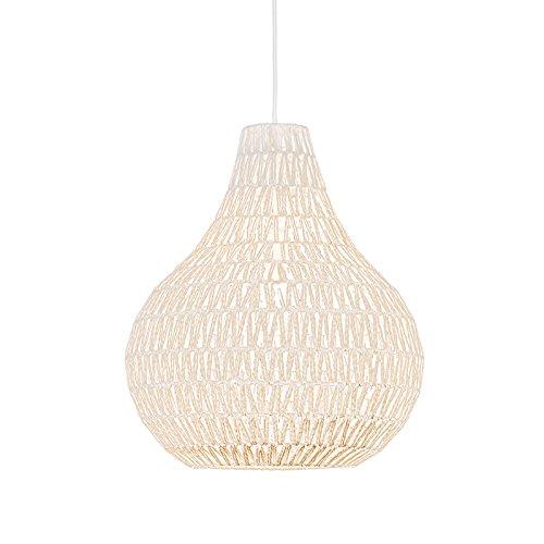 QAZQA Design/Retro Skandinavische Hängelampe weiß 45 cm - Lina Drop/Innenbeleuchtung/Wohnzimmerlampe/Schlafzimmer/Küche Textil/Stahl Rund LED geeignet E27 Max. 1 x 60 Watt