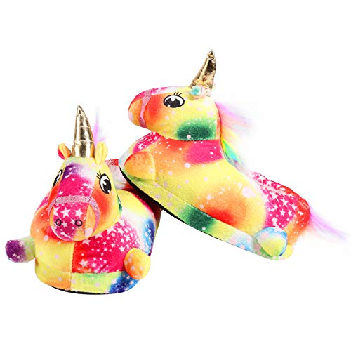 Regilt Unicorn Slippers Cute Rainbow Cotton Slippers Warm Anti Slip Household Slippers with Rubber...