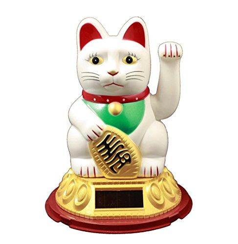 HAAC Solar Winkekatze Katze Glückskatze Glücksbringer 20 cm Farbe Weiss rot