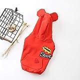 YZUEYT 秋と冬の新しい犬の服無地OEMミルク犬のセータープラスベルベットコットンカジュアルセーター YZUEYT (Color : Red, Size : L)
