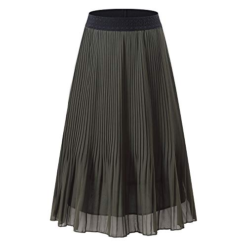 NAMETSHE Women's Chiffon High Waist Pleated Skirt A-line Maxi Skirts Army Green