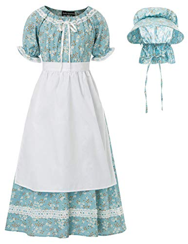 Children Girls Cotton Floral Dress with Apron Bonnet Pioneer Costume Blue 12-13Y