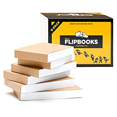 """Blank Flipbooks (Flip Book) for Animation, Sketching, and Cartoon Creation - 6 Pack, 4.5"""" x 2.5"""", 180 Pages (90 Sheets) :: Thick, No Bleed Drawing Paper with Sewn Binding : Fun, Creative Craft for Kid by Oaktown Supply"""