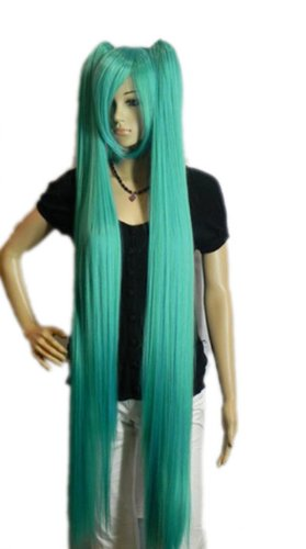 Qiyun Vocaloid Hatsune Miku 2 Clip-On Ponytails Longue Raide Cosplay Anime Costume Synthetique Cheveux Complete Perruque - Bleu