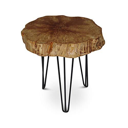 GREENHAUS Natürlich wohnen Couchtisch Baumscheibe, rustikaler Baumstamm Beistelltisch Birke, Anstelltisch mit Metallbeinen, Dekotisch Dreibein rund (30-40 cm, mit Rinde)