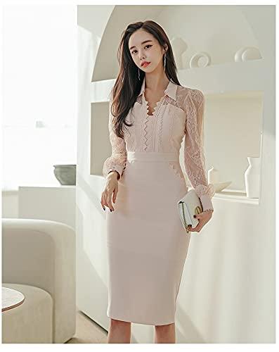 CYNSLX Vår spets sömnad pennmantel klänning dam kontor kväll fest elegant enkel klänning S beige