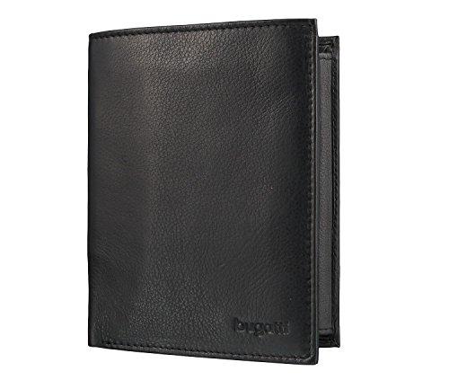 Bugatti Sempre Geldbeutel Männer Leder - Geldbörse Herren Schwarz- Portmonaise Portemonnaie Portmonee Brieftasche Wallet Ledergeldbeutel