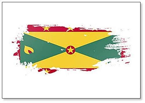 Kühlschrankmagnet Grunge Brush Style Illustration Grenada Flagge