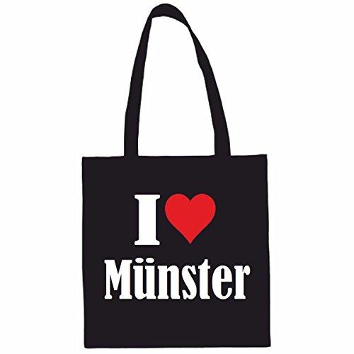 Tasche I Love Münster Größe 38x42 Farbe Schwarz Druck Weiss