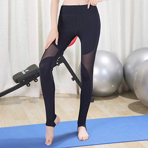 B/H Yoga de Cintura Alta Elegante con Gimnasio Pantalones Sexy de Fitness Huecos, Nalgas de Cintura Alta Pantalones de Secado rápido-Negro Azul_L