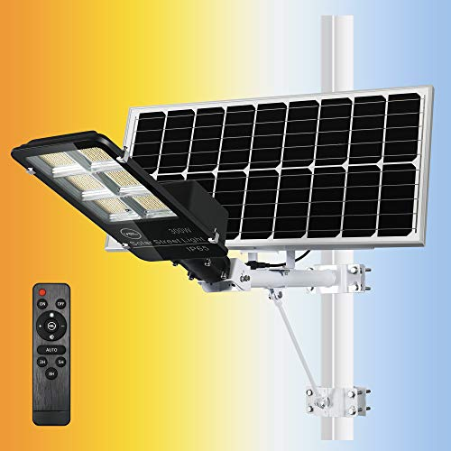 YQL Solar Street Flood Light Powered Outdoor LED 300W with Adjust Color Temperature Warm Natural White Daylight Remote Control ip65 Waterproof Dawn to Dusk Security Floodlight for Patio Pathway Garden