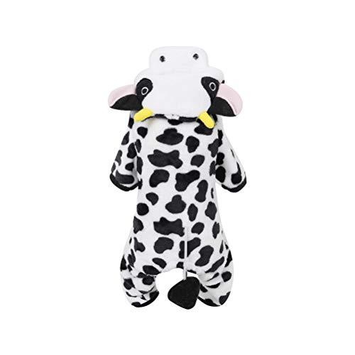 POPETPOP Traje de Mascota Leche Disfraz de Vaca para Perro Gato Ropa Abrigo con Capucha de Invierno para Perros y Gatos - Tamaño S