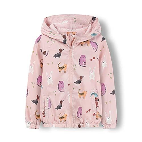 CLKE Chaqueta cortavientos para niños y niñas, cortavientos a prueba de viento, diseño de unicornio y gato, con capucha y capucha de color azul para niñas y niños de 3 a 9 años de edad, rosa, 4 años