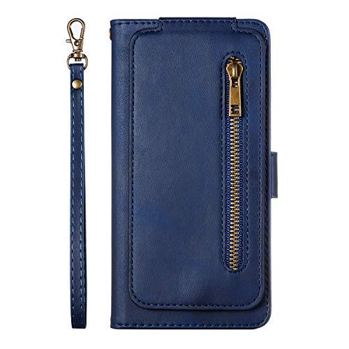 Uposao Kompatibel mit Samsung Galaxy S7 Edge Hülle Reißverschluss Leder Flip Schutzhülle 9 Kartenfächer Handyhülle Multifunktionale Brieftasche Geldbörse Handytasche Magnetverschluss,Blau