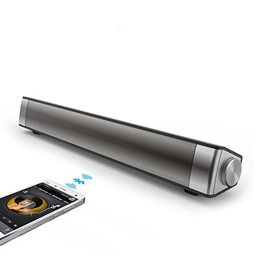 Dansrue Bluetooth Soundbar Speaker, Subwoofer Stereo Wired and Wireless Speaker Sound bar for TV PC Desktop Laptop Tablet iPhone Samsung and More, Built-in Microphone / SD Card Slot (Sliver)