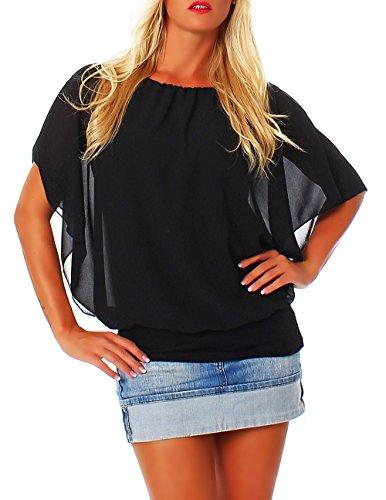 Damen Bluse im Fledermaus Look | Tunika mit Rundhals und breitem Bund | Blusenshirt Kurzarm | Elegant - Shirt 6296 (schwarz)