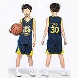 NBA Warriors Curry 30th Golden State Baloncesto Camisetas Costume Traje Basketball Jersey Niños Chicos Chicas Hombres Costume Kit Set Retro Shorts y Camiseta Uniforme Top & Shorts 1 Set (Negro, M)