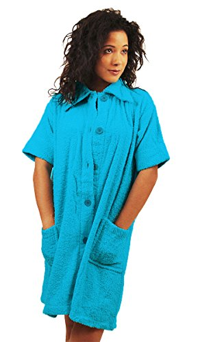 NDK New York Women's Swimsuit Coverup with Collar/Pockets 100% Cotton Turquoise