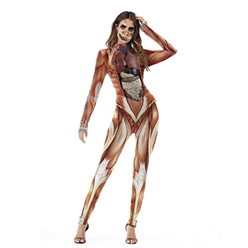 para Mujer De Halloween Cosplay De Impresin En 3D del Esqueleto del Crneo Body Stretch Flaco Enteros En General Mono