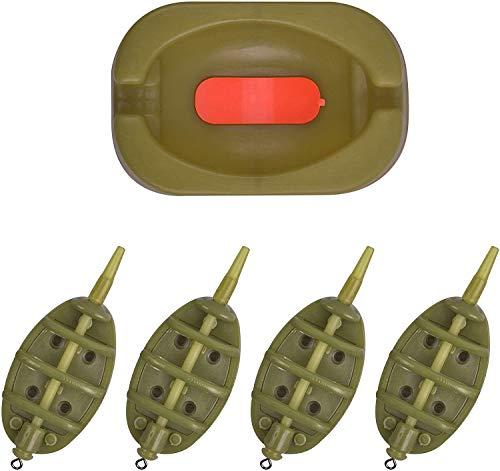 OROOTL Inline Method Feeder Set Karpfenangeln Zubehör mit Easy Release Köderform Karpfen Angelnzubehör 15g-60g