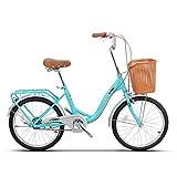 JHKGY - Bicicleta de crucero, de alta velocidad retro para adultos, bicicleta Comfort de una sola velocidad, para hombre y mujer, con cesta y portaequipajes trasero, azul, 20 pulgadas
