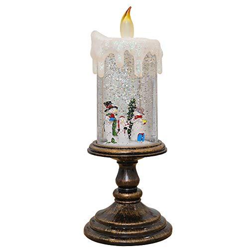 JXHD LumièRe De Bougie en Cristal MenéE sans Flamme/Santa Night Light Santa Saint Valentin Parfait, Halloween, NoëL, DéCoration d'anniversaire, 10,5 × 10,5 × 27 Cm,Snowman